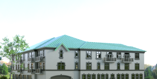 3d rendering exterior 3 storey residential apartments