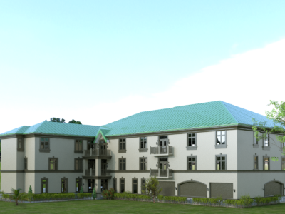 3d rendering 3 storey residential apartments