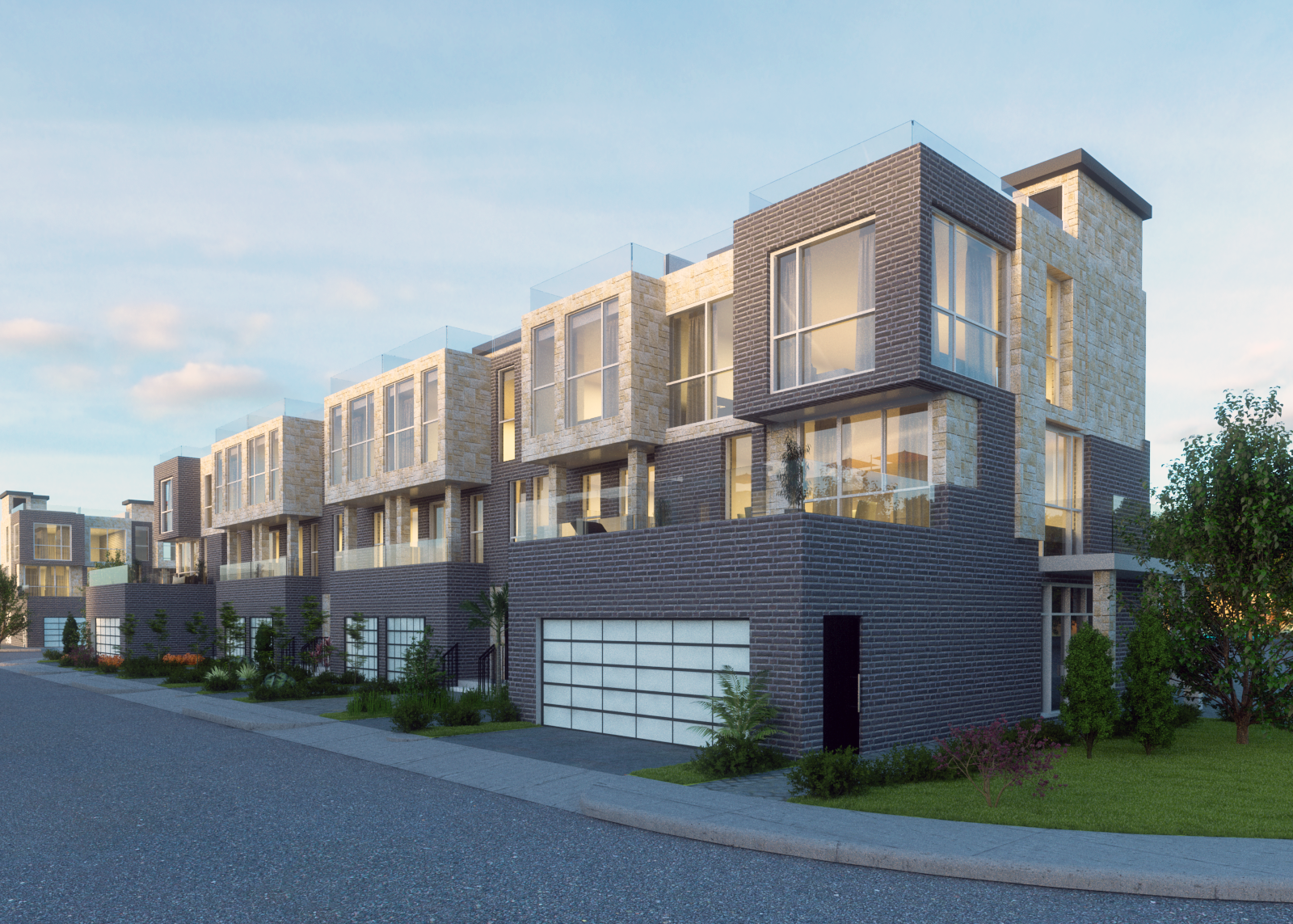 townhouse at dusk - 3d rendering