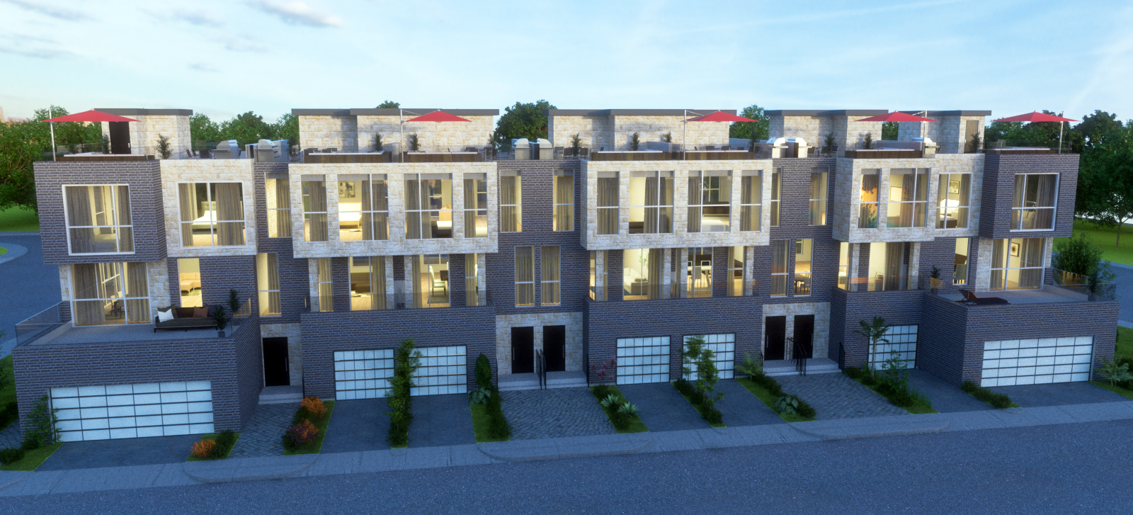 townhouse exterior at night time - 3d rendering